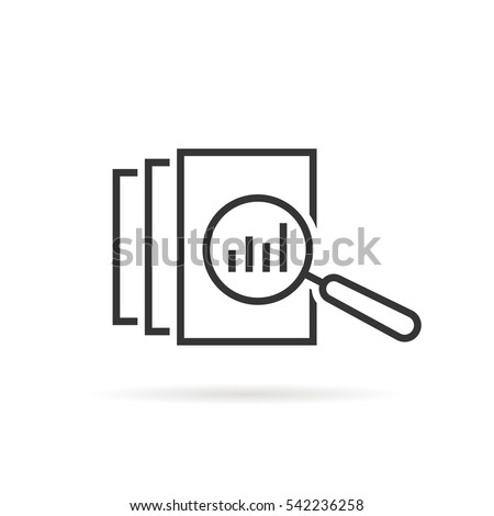 black thin line assessment logo. concept of annual taxes, seo, scrutiny, info list page evaluation, web analytics, service, glass. flat style trend modern logotype graphic design on white background