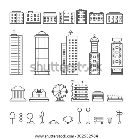 black thin line city elements. concept of downtown, center, central park, office, metropolis, residential, life. isolated on white background. flat style trend modern logo design vector illustration