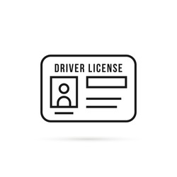 black thin line driver license icon. flat stroke style trend modern logotype graphic lineart art design isolated on white background. concept of driver's personal documents or simple id card with chip