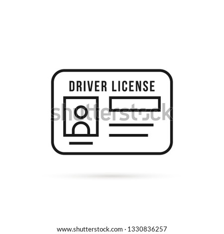 black thin line driver license icon. flat stroke style trend modern logotype graphic lineart art design isolated on white background. concept of driver's personal documents or simple id card with chip Stock fotó ©