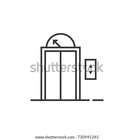 black thin line elevator icon for house or hotel. concept of home lift to apartment or trip to the top floor. simple flat linear trend modern logotype art graphic design on white background