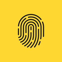black thin line fingerprint simple icon. linear minimal stroke logotype graphic stamp design isolated on yellow background. concept of investigation or identity verification and scanner for imprint