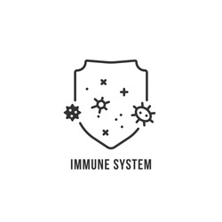 black thin line immune system logo. flat minimal trend modern bacteriophage or bacteria logotype graphic art isolated on white background. design element for anti bacterium medicines or prevention