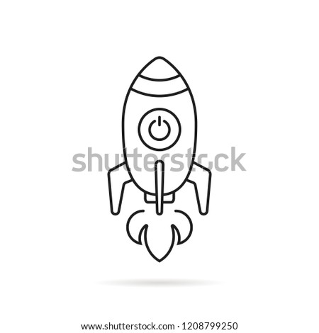 black thin line rocketship launch. stroke flat style trend modern lineart sputnik logotype graphic art design isolated on white background. concept of travel to universe by missile and innovation