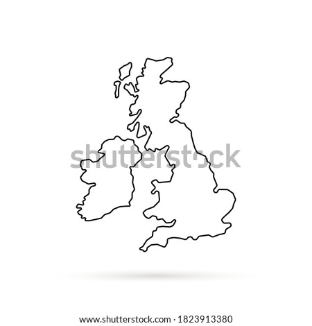 black thin line uk map with shadow. flat minimal modern simplified logotype art web design element isolated on white background. concept of united kingdom area or territory and great britain badge