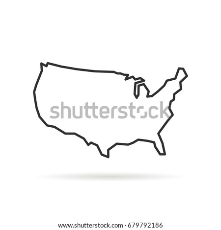 black thin line usa icon with shadow. concept of america outline for teaching or education infographic element. stroke flat style modern logotype graphic unusual design isolated on white background