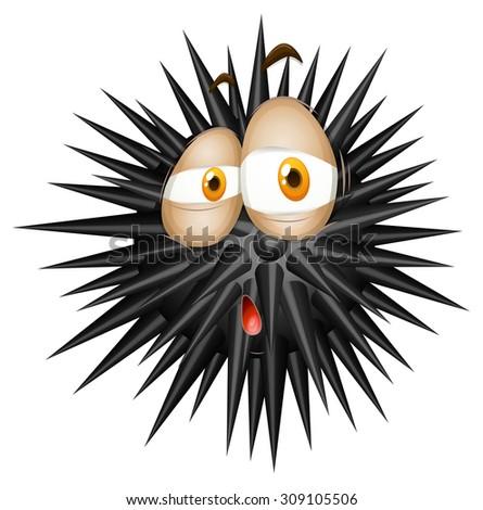 black thorny ball with sad face