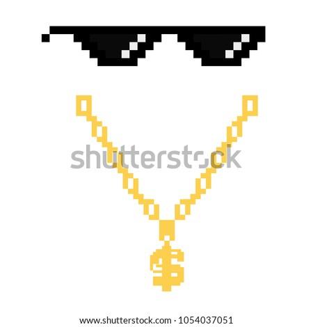 black thug life meme glasses in