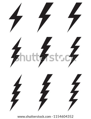 Black thunder and bolt icons on a white background