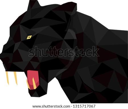 black tiger vector polygon