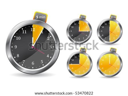 black timer clock. vector illustration isolated on white background