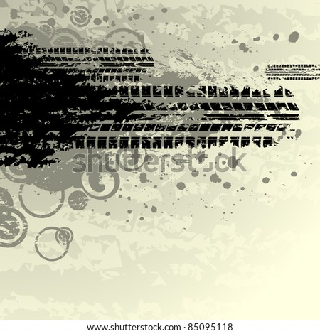 Black tire track. Tire track silhouette. Grunge tire track. Tire track isolated on yellow. Background with tire track. Tire track with ink blots. Tire track road. Splatter tire track wallpaper