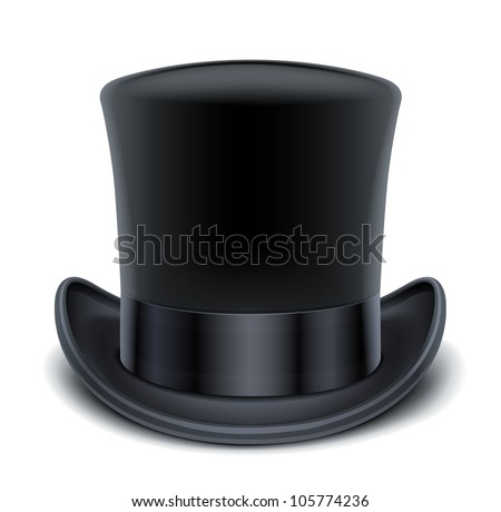black top hat vector illustration isolated on white background EPS10. Transparent objects and opacity masks used for shadows and lights drawing Сток-фото ©