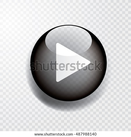 black transparent play button with shadow, vector icon
