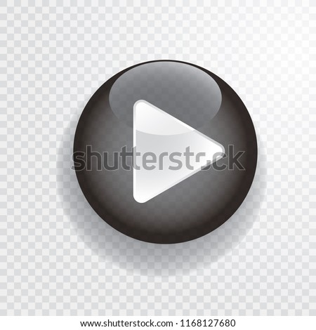 black transparent play button with white arrow, vector illustration #1168127680