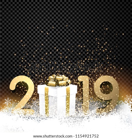 Black transparent shiny 2019 New Year background with gold figures, gift box and snow. Greeting card or decoration template. Vector illustration.