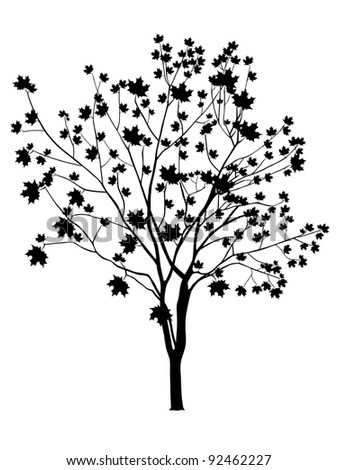 black tree isolated on a white, vector - stock vector