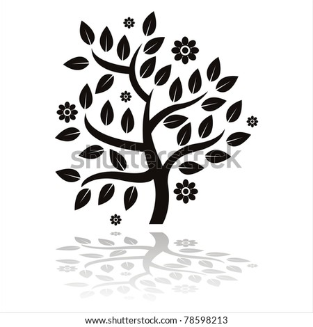 black tree silhouette with flowers isolated on white
