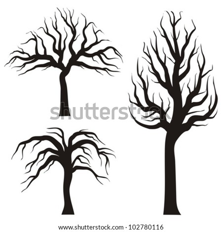 black tree silhouettes on a white background, vector illustration