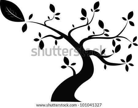black tree vector.