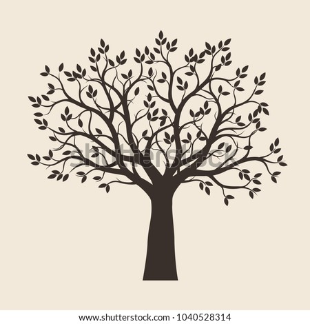 Black Tree with Leaves. Vector Illustration.