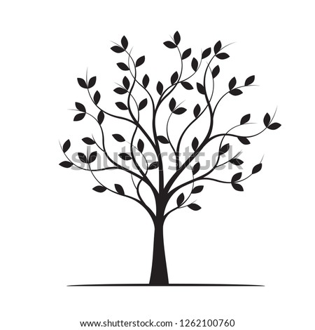 Black Tree with Leaves. Vector Illustration. Plant and Garden.