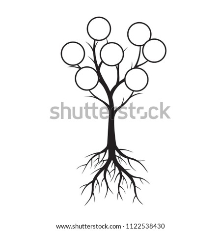 Black Tree with Rings and Root. Vector Illustration. Plant in garden.