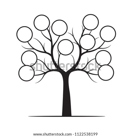 Black Tree with Rings. Vector Illustration. Plant in garden.