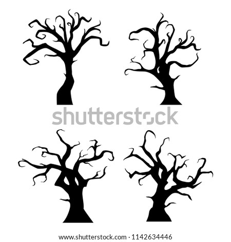 Black trees silhouette on white background