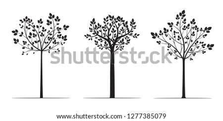 Black Trees with Leaves. Vector Illustration. Plant and Garden.