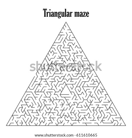 Black triangular labyrinth or maze isolated on a white background,vector illustration