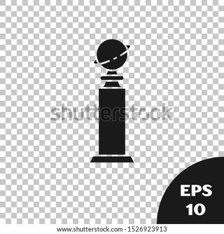 Black Trophy Golden Globe icon isolated on transparent background. Academy award icon. Films and cinema symbol.  Vector Illustration
