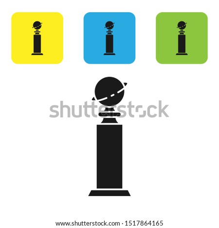 Black Trophy Golden Globe icon isolated on white background. Academy award icon. Films and cinema symbol. Set icons colorful square buttons. Vector Illustration