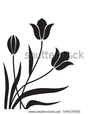 Black tulips congratulatory decorative background - stock vector
