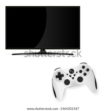Black Tv Monitor. Vector Flat Television Screen with Gamepad Controller. Videogame Challenge Console. Modern Lcd Plasma on Stand with Joystick isolated on White. Computer Gamer Play Station