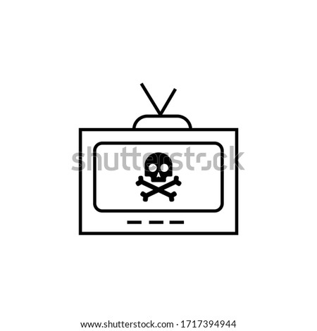 black tv sign icon and skull