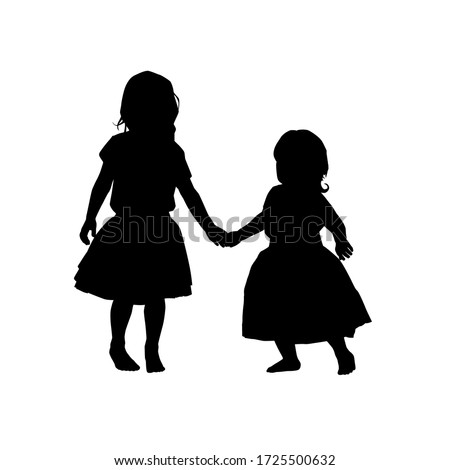 black two little girl silhouettes on white background. holiday clipart. International children's day greeting card. Vector illustration babys, daughters, girls in a fluffy skirts. Stockfoto ©