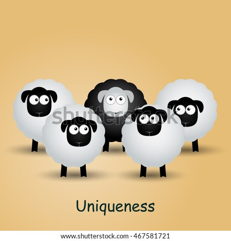 Black unique sheep. Leader, leadership, individuality, ambition, uniqueness, success.