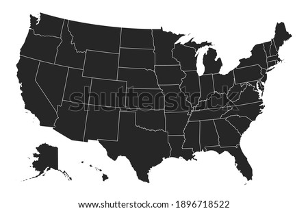 Black United States Of America map. US background template. Map of America with separated countries and interstate borders. All states and regions are named in the layer panel. Photo stock ©