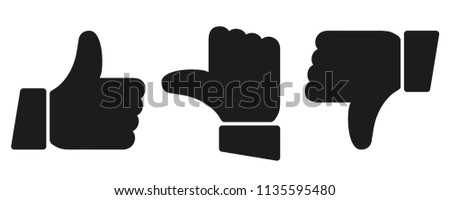 Black valuation thumbs sign - stock vector