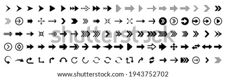 Black vector arrows collection. Arrow. Cursor. Arrow vector icon. Modern simple arrows. Collection different Arrows on flat style for web design or interface. Direction symbols - vector illustration