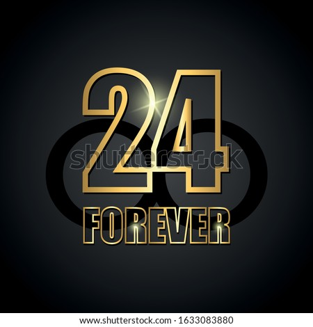 Black vector background with golden number 24. Vector background 24 black forever. basketball. Vector illustration.