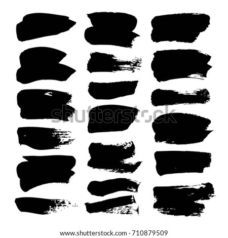 Black vector brush strokes isolated on a white background