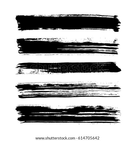 black vector brush strokes of paint on white background