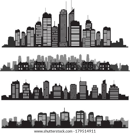 black vector cityscapes