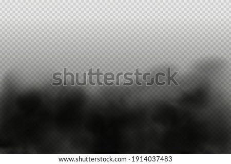 Black vector cloudiness ,fog or smoke on dark checkered background.Set of Cloudy sky or smog over the city.Vector illustration.