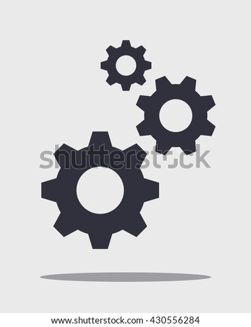 Shutterstock Black vector cog with shadow isolated on white, gear illustration, wheel concept. Vertical composition