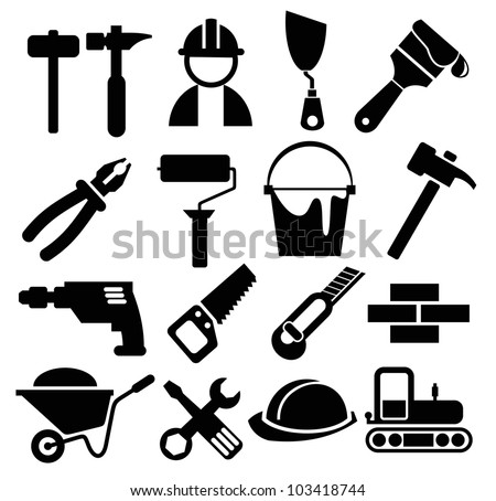 black vector construction icon set
