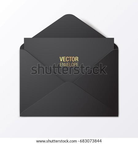 Black vector envelope template. Black opened envelope lying on a white background. Realistic mockup.