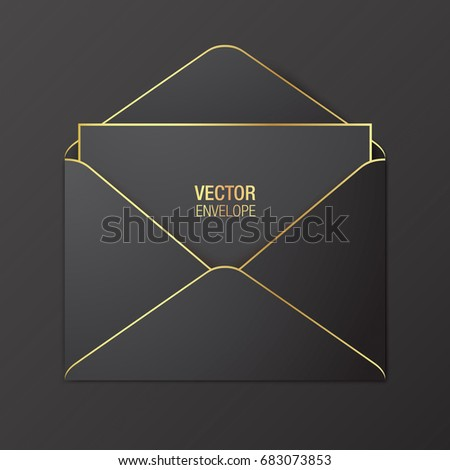 Black vector envelope template. Black opened envelope with golden elements, lying on a black background. Realistic mockup.